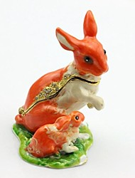 Rabbit Mother And Baby Trinket Box