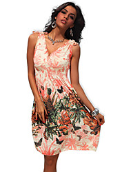 Fashion Women's Floral Prints V Neck Sleeveless High Waist Long Dress