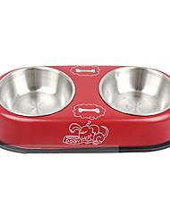 double usage animal bols bols de peinture en acier inoxydable pour les chiens de compagnie (couleur aléatoire)