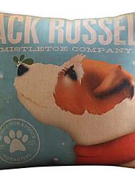 jack russell motif coton / lin taie d'oreiller décoratif