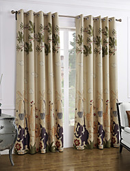 Modern Two Panels Cartoon Multi-color Bedroom Polyester Panel Curtains Drapes