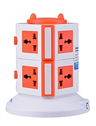 Overload Protector 5V/2.1A 2 Floor with 7 Universal Outlets and 2 USB UK Adapter Power Strips