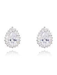 cadeaux roxi classiques véritables cristaux autrichiens goutte d'eau mode de zircon blanc boucles d'oreille des femmes (1 paire)