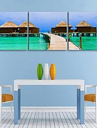 e-HOME en lienzo de arte de la cabaña de playa Conjunto de la decoración de pintura de 3