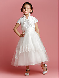 A-line / Princess Tea-length Flower Girl Dress - Taffeta / Tulle Short Sleeve Jewel with Lace / Ruching