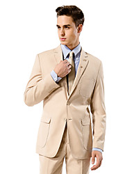 Champagne Solid Tailored Fit Suit In Viscose