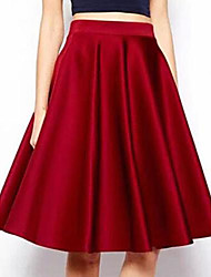Women's Vintage Casual Knee-length Skirts , Others Micro-elastic Red