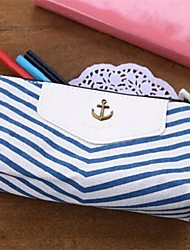 Navy Stripes Style Pen Pencil Case Cosmetic Make up Bag Storage Pouch Wallet Coin Purse Blue Wedding Return Gift Present