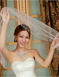 One Tire Elbow Bridal Veils with Beading ASV32