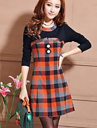 jingshang New Korean Slim Thin Check Long Sleeve Bottoming Dress 701Screen Color