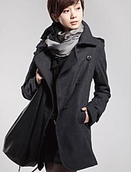 Women's Black/Gray Coat , Casual Long Sleeve Wool