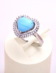 AS 925 Silver Jewelry  9MM*9MM sapphire stone sweet heart-shaped ring