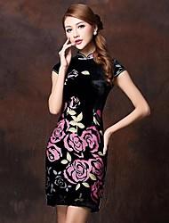 gola alta fim de seda amoreira vestido chinês das mulheres