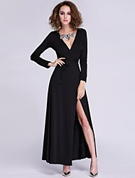 Women's Party/Cocktail Sexy Dress,Solid Maxi Long Sleeve White / Black Polyester Fall / Winter