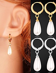 InStyle Cute 18K Chunky Gold Platinum Plated Synthetic Pearls Drop Dangle Earrings Gift for Women High Quality