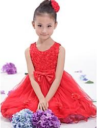 flor roja de múltiples capas de la muchacha del arco de tul vestidos de princesa desfile partido embroma la ropa de la boda