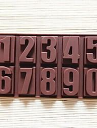 números de torta de la forma del molde de chocolate molde de gelatina hielo, silicona 22 × 11.2 × 2 cm (8,7 × 4,4 × 0,8 pulgadas)