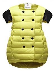 Girl's Pure color button decorative glossy down vest striped coat