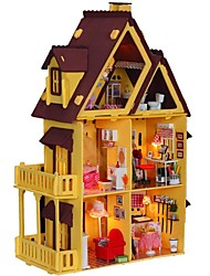 Large Dream Villa Room DIY Wood Dollhouse Including All Furniture 3D Lamp Kit