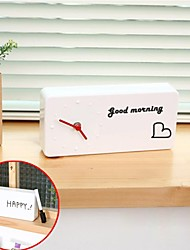 Creative Analog DIY Wiping Message Board with Pen ABS Alarm Clock(White,1*AA)