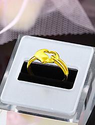 мигать женская мода темперамент сердце 24k золотое кольцо