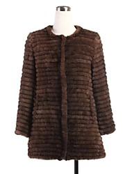 abrigo de piel 3/4 manga sin cuello de piel de visón de punto natural de la capa ocasional