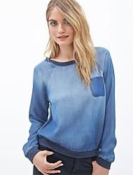 Women's  Blue Retro Wash Short Long Sleeve Denim T-shirt