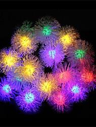 20 leds com lâmpadas solares bola peludo (cores sortidas)