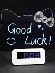 The Cat KITTY Light Emitting Message Board Electronic Clock Mute Luminous Fluorescent LED Alarm Clock