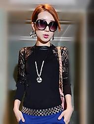 Bodycon кружева с длинным рукавом шею база рубашка Лара женщин