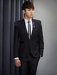 Black Beading Slim Fit Tuxedo In Polyester