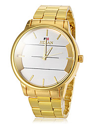 Men's Round Dial Gold Steel Band Quartz Wrist Watch  (Assorted Colors)