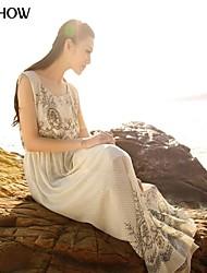 Chine col rond broderie de style de conception sans manches robe de mousseline de soie plage mince de mishow®women