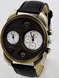 tempo duplo relógio de pulso pulseira de couro de discagem zona de quartzo analógico dos homens
