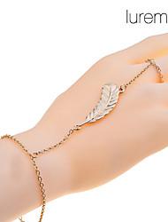 Women's Lureme Gold Leaf Ring Bracelet