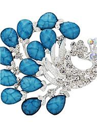 Women's Fashion Popular Korean Peacock Shape Silver Alloy Rhinestone Brooches
