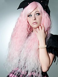 Sweet Pink Long Slightly Wavy Party Hair Wigs with Side Bang