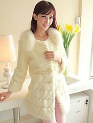 Fur Coats Women's Long Section Of Lady Rabbit Fur Fox Collar Fur Coat(More Color)