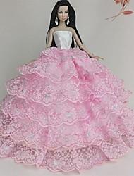 vestido de novia de color rosa de encaje multicapa muñeca barbie
