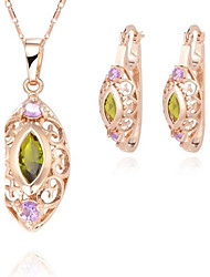 Z&X® European Style 18K Gold Plated Hollow Olivary Pendant Necklace Earrings Jewelry Set (1 set)