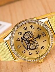 женская мода круговой венец сплав кварца стальной ленты часы