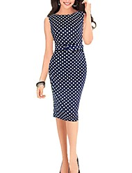 Meishang Women'Sround Polka Dots Bodycon Dress