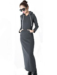 Women's Solid Black/Gray Dress , Sexy/Maxi Hooded Long Sleeve