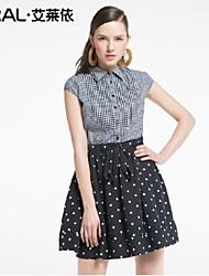 abito estivo elegante sottile plaid a pois patchwork dentellato-collare abito di chiffon di cotone di eral®women un pezzo con l'arco