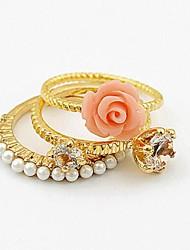 femmes ont augmenté de perles bague cristal ensemble