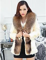 Fur Coats Women's Rabbit Raccoon Fur Gate Lapel Long Fur Coat(More Color)