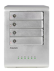 "MAIWO K4FU3E 4-Bay Aluminum Alloy USB 3.0 to 2.5/3.5"" SATA External Hard Drive Enclosure"