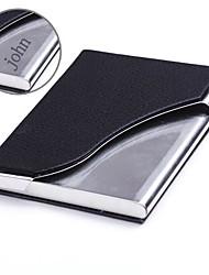 gepersonaliseerde zwart leer en roestvrij staal card case