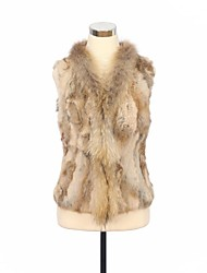 Fur Vest Raccoon Collar Real Spliced Rabbit Fur Casual Vest