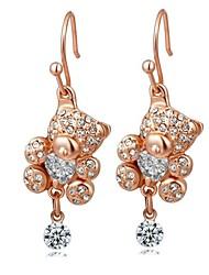petite forme d'ours blanc cristal champagne chute en alliage de zircon de la mode boucle d'oreille des femmes (1 paire)
